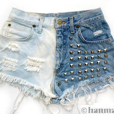 Hanmattan DOMINO vintage high waisted studded denim por Etsy.com - Shopcliq