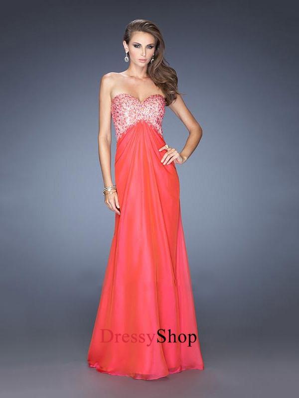 A-line Sweetheart Empire Beads Open Back Small Train Chiffon Prom Dress PD11648