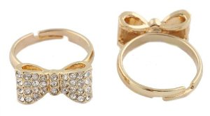 Amazon.com: 2 Pieces of Ladies Gold with Clear Iced Out Bow Tie Adjustable Ring: Jewelry