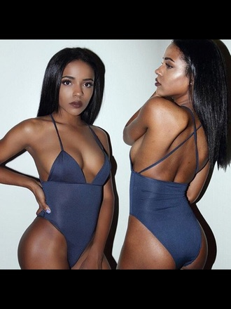 underwear lingerie onesie sexy bodysuit navy