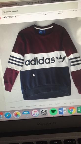 sweater burgundy adidas sweatshirt red blue