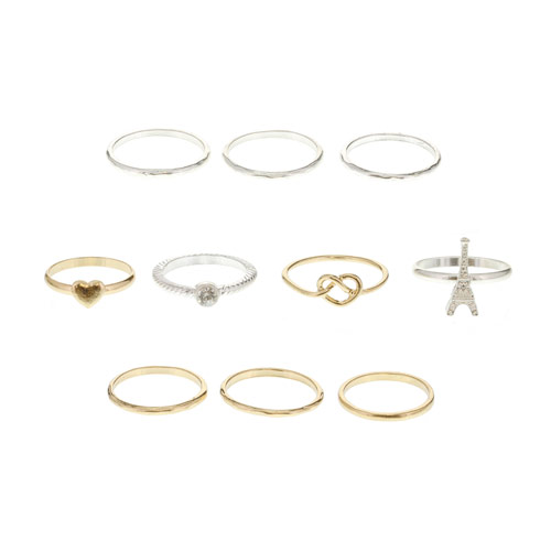 10 Pack Eiffel Tower Stack Rings, Jewellery, Stack Em, Rings, all Fashion trends, accessories and jewellery for young women