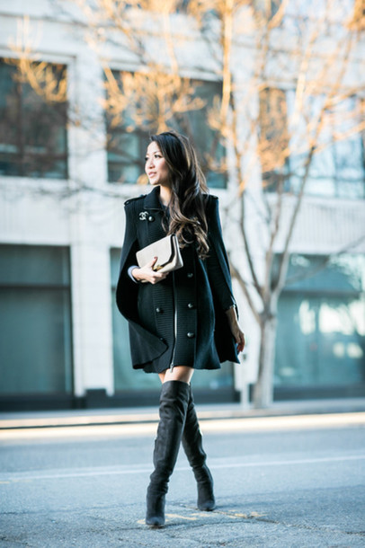 wendy's lookbook blogger cape chanel thigh high boots winter outfits top sweater dress shoes bag jewels