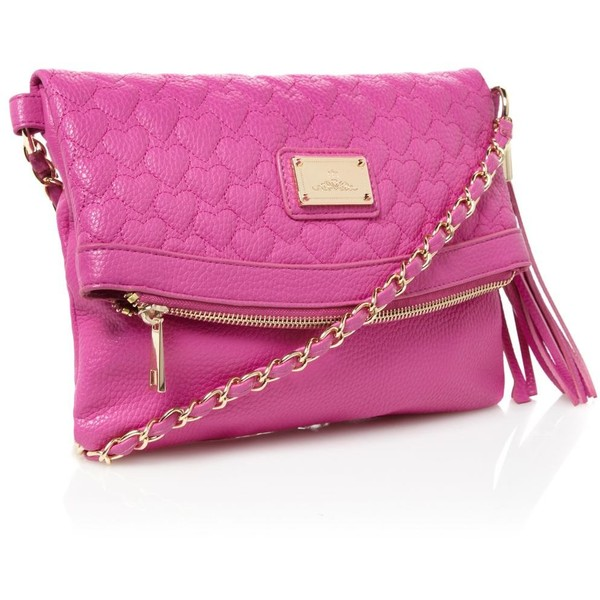 Pink heart quilted cross body bag - Red Herring - Polyvore