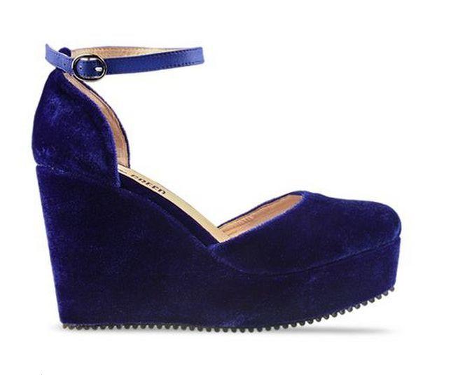 New Ego and Greed Velvet Suede Blue Ankle Strap Platform Wedges Heels 6 5 7 | eBay