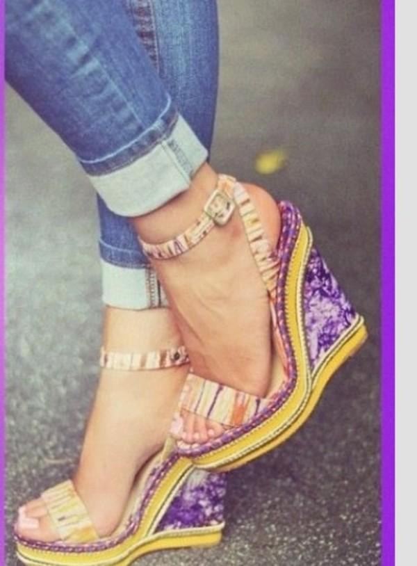 shoes wedges purple