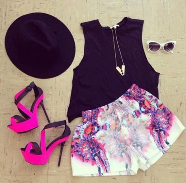 shorts shirt pink high heels pretty black shoes hat tank top
