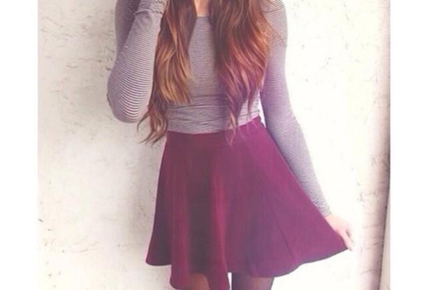 skirt wine top