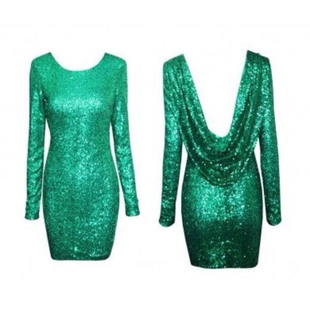 dress style sequin dress emerald green backless dress shiny elegant dress