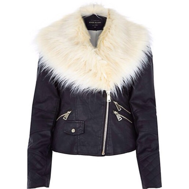 coat leahter jacket white fur leather