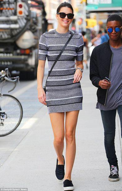kendall jenner streetstyle model striped dress grey dress bodycon dress vans