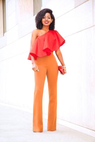 blogger top pants bag shoes blouse red top orange pants red bag clutch
