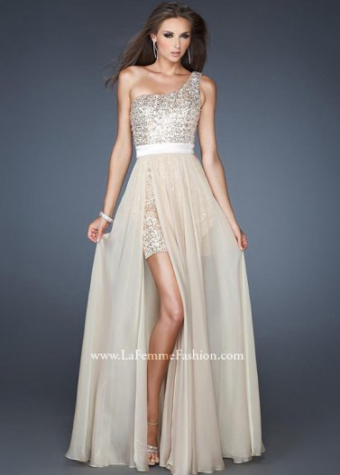 La Femme 18945 Nude Sequined One Shoulder Chiffon Overlay Gown [La Femme 18945 Nude] - $178.00 : Prom Dresses 2014 Sale, 70% off Dresses for Prom