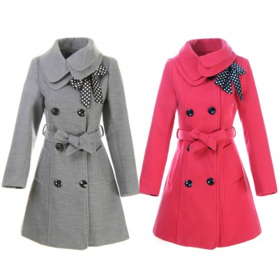 Buy Fashion Clothing -  Slim Double Collar Belted Bow Woolen Women's Long Coat - Coats - Outwear