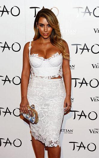 two piece dress set two-piece white top crop tops lace top lace skirt bodycon skirt white lace top kim kardashian kardashians