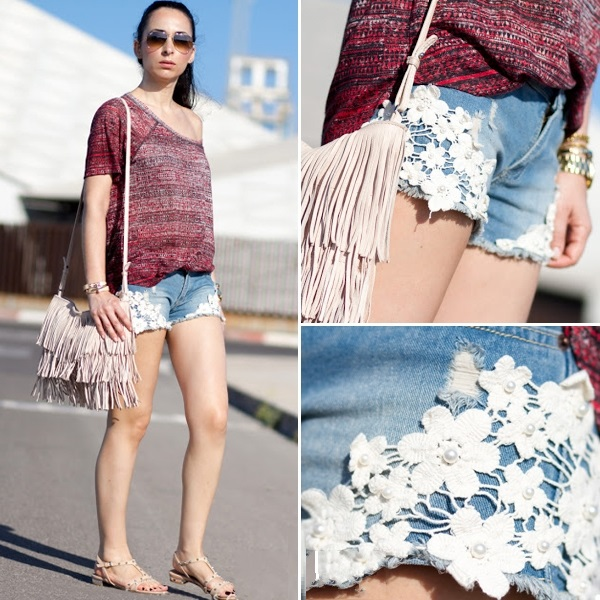 Lace Pocketed Denim Shorts | Pariscoming