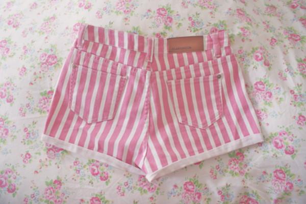 shorts stripes short pink white flowers striped shorts