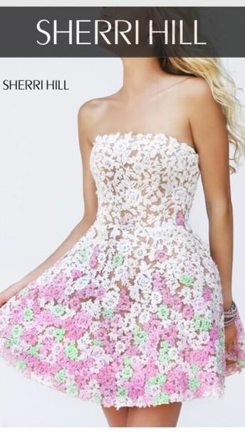 dress sherri hill floral dress lace dress sheri hill dress white dress
