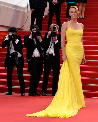 dress gown bustier dress yellow yellow dress charlize theron cannes prom dress