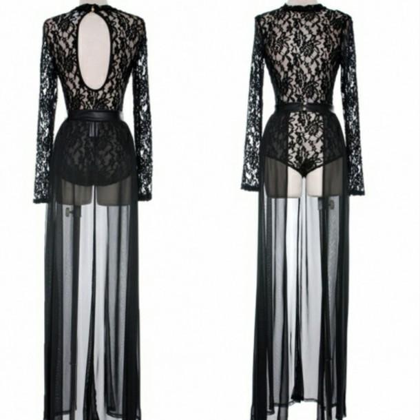 dress lace dress bodysuit long sleeve dress chiffon dress chiffon lace bodysuit party outfits party dress clubwear club dress