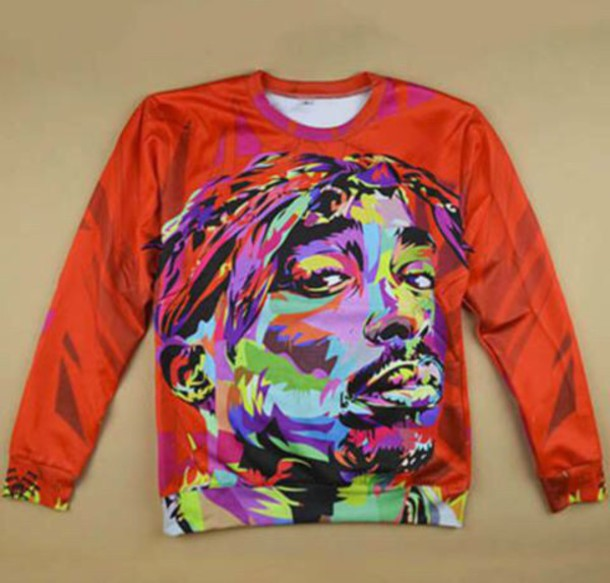 sweater tupac abstract painting colorful