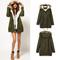 Military green women winter hooded faux fur trench coat parka overcoat jacket | ebay