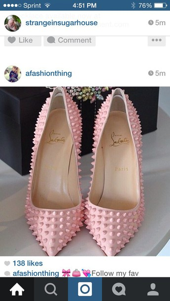 shoes pinky spiky heels pink heels heels pointed toe pumps