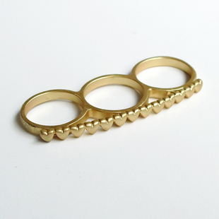 Fashion Gold Alloy With Lots Of Hearts Three Finger Rings - DualShine