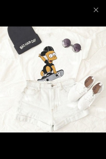 bart simpson High waisted shorts beanie white top round sunglasses shoes shirt