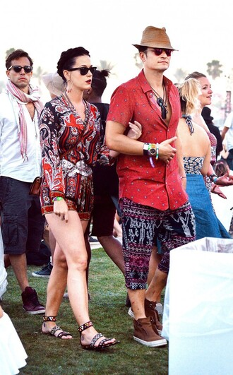romper katy perry coachella shorts sandals