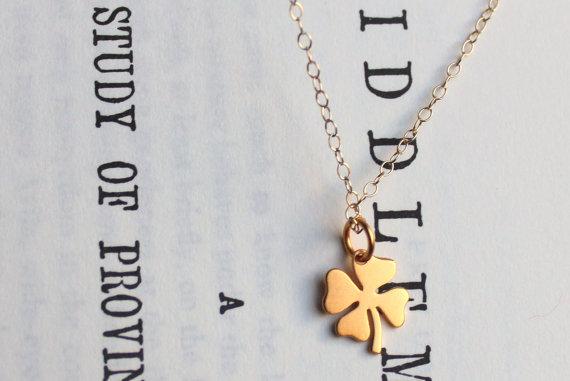 Four Leaf Clover Gold Charm Necklace by MooseAndNigel on Etsy