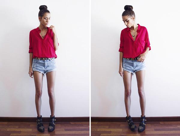 mexiquer blouse jewels belt shorts bag shoes
