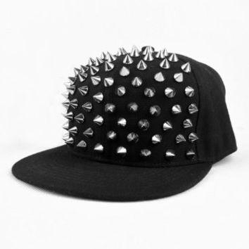 Amazon.com: LOCOMO Men Women Punk Hedgehog Rock Hip Hop Silver Rivet Stud Spike Spiky Hat Cap Baseball FFH019 Black: Clothing on Wanelo