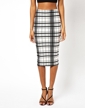 River Island | River Island Checked Tube Skirt at ASOS