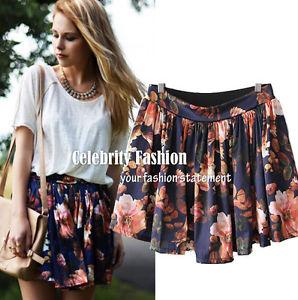 SK74 Celebrity Style High Waisted Retro Floral Print Pleated Skater A Line Skirt   eBay