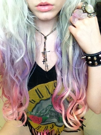 t-shirt long hair dip dyed guns and roses tumblr hipster jewels