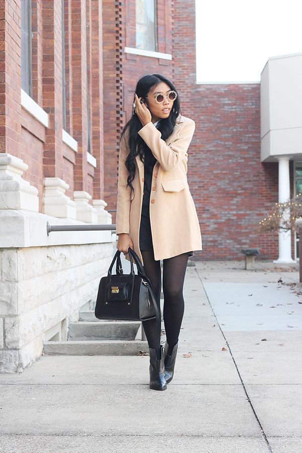 fashion of a novice dress coat shoes bag sunglasses
