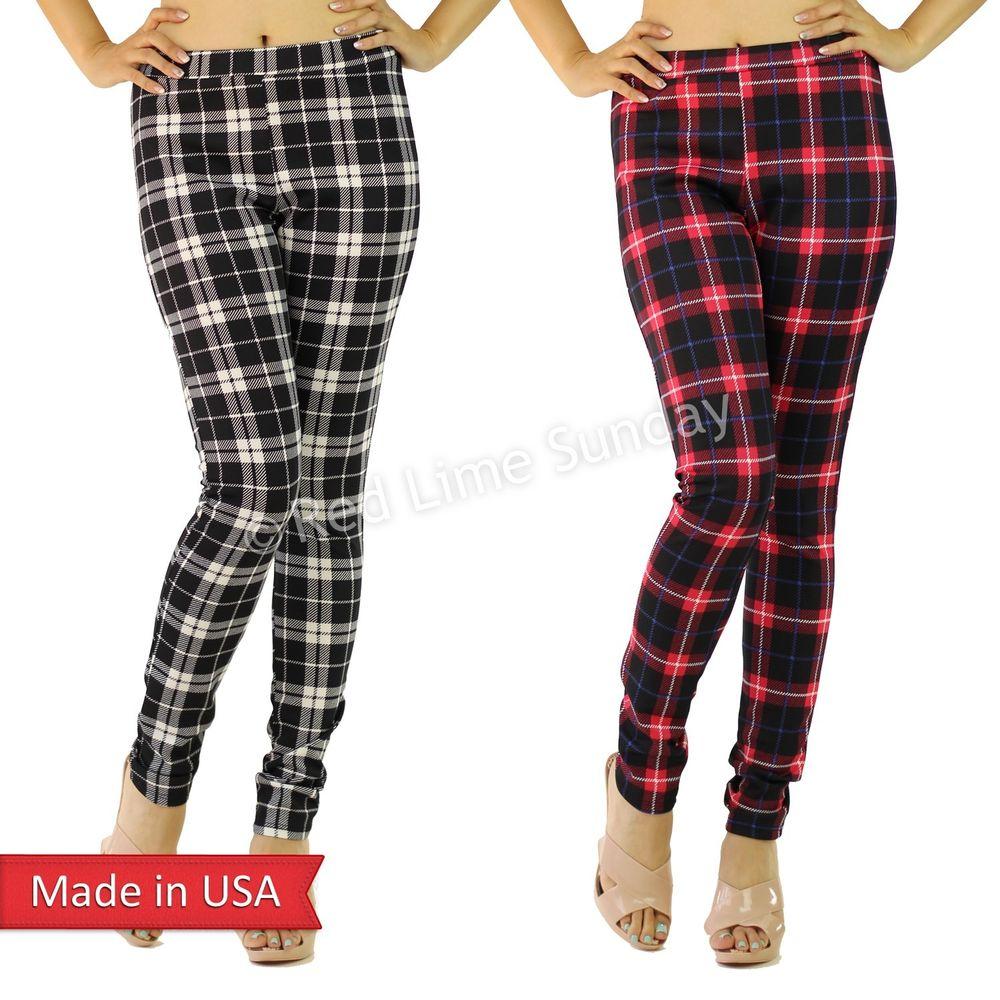 Brand-new New Women Winter Plaid Check Preppy Print Black Red Leggings  ZP53