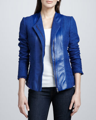 Bagatelle Leather-Front Tweed Jacket - Neiman Marcus