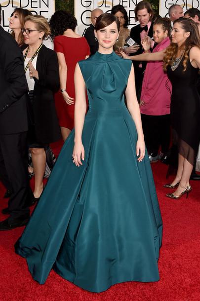 dress red carpet dress Golden Globes 2015 felicity jones gown
