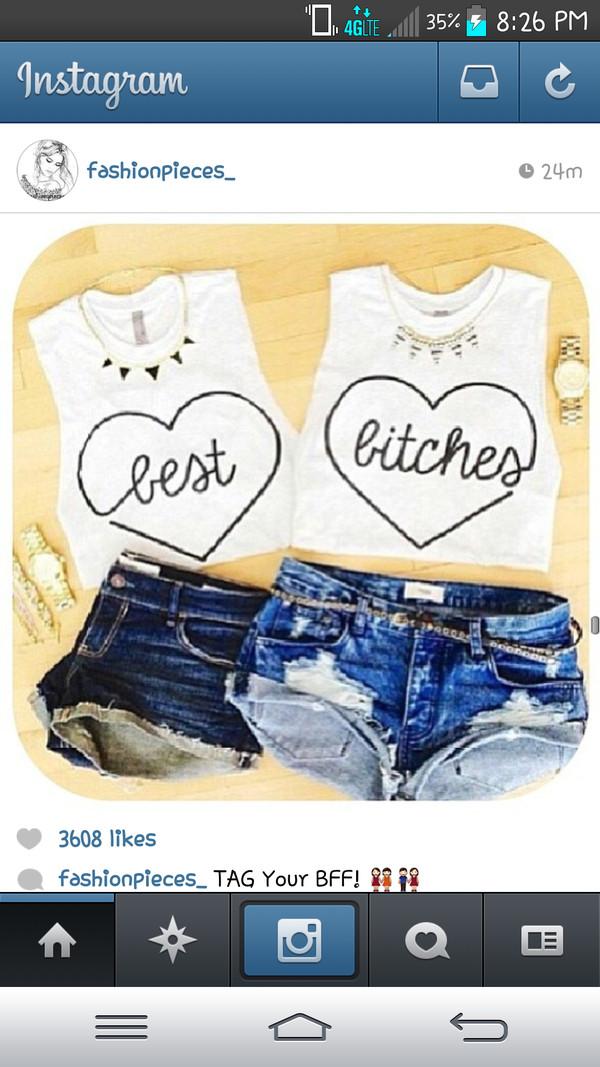 shirt white heart bff best bitches