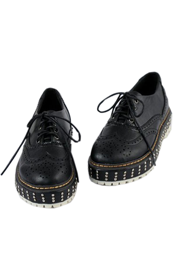 Elegant Floral Dots Detail Studded Lace-up Shoes - OASAP.com