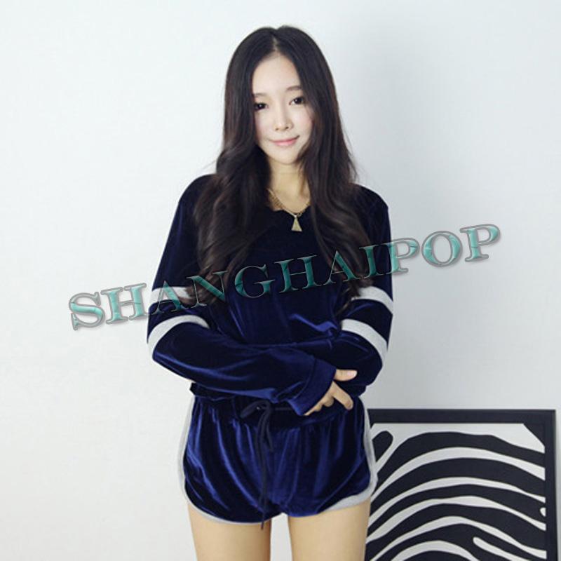 Women Velvet Track/Sweat Suit Sports Sweatshirt Shorts Jogging Gym Long Sleeve | eBay