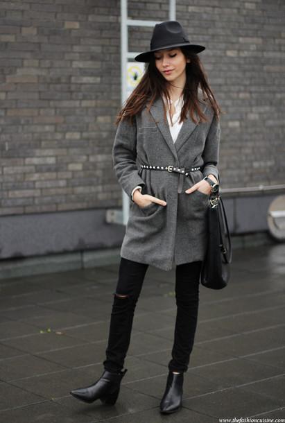 the fashion cuisine blogger grey coat studded belt fedora coat blouse jeans bag hat shoes jewels