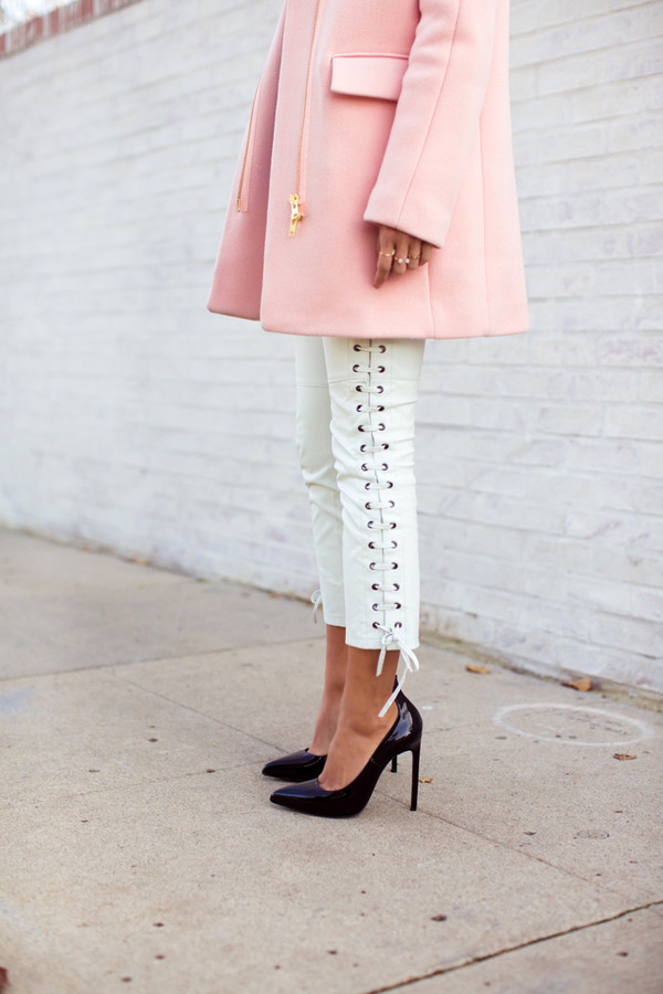 song of style coat shirt pants shoes lace up pants white pants heels pumps pointed toe pumps black pumps black heels pink coat white laced side dressy cropped jeans