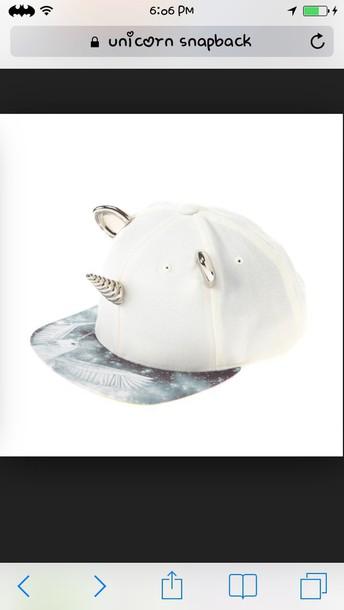 hat white and grey unicorn snapback