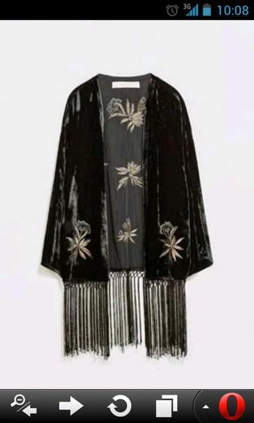cardigan kimono velvet
