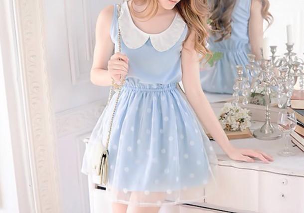 dress polka dots pastel dress baby blue lace dress dolly dress