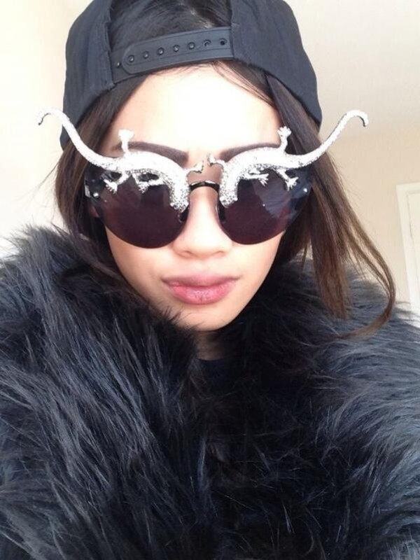 sunglasses lizard jewels diamonds black boho