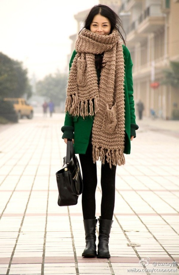 scarf knit giant brown green coat winter outfits fashion warm light lightgreen pretty cute cold